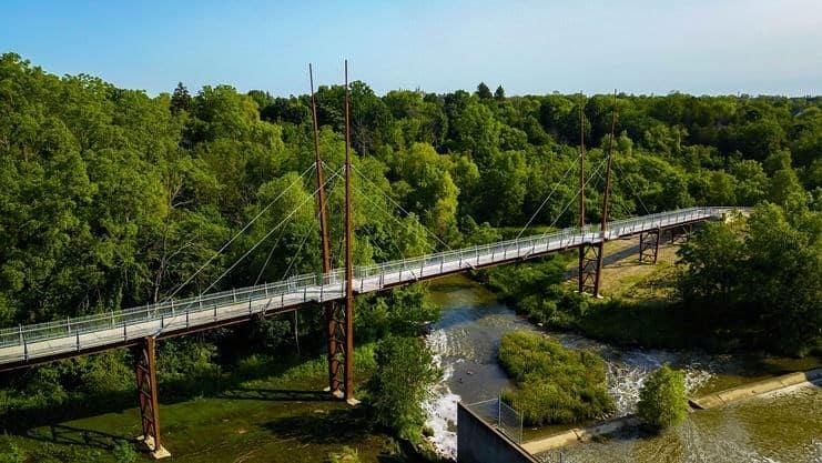 milne dam conservation park bridge in markham