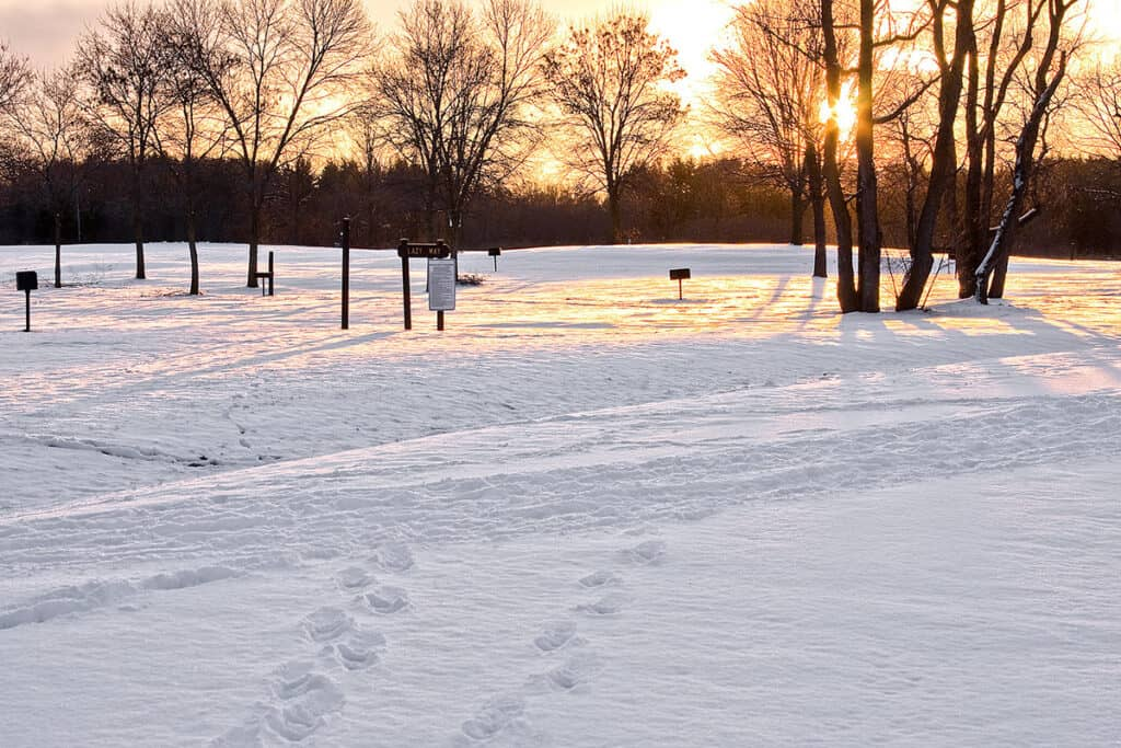 milne damn conservation park in winter time with snow