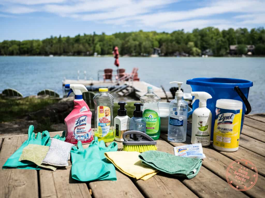 cleaning supplies to bring in cottage packing list
