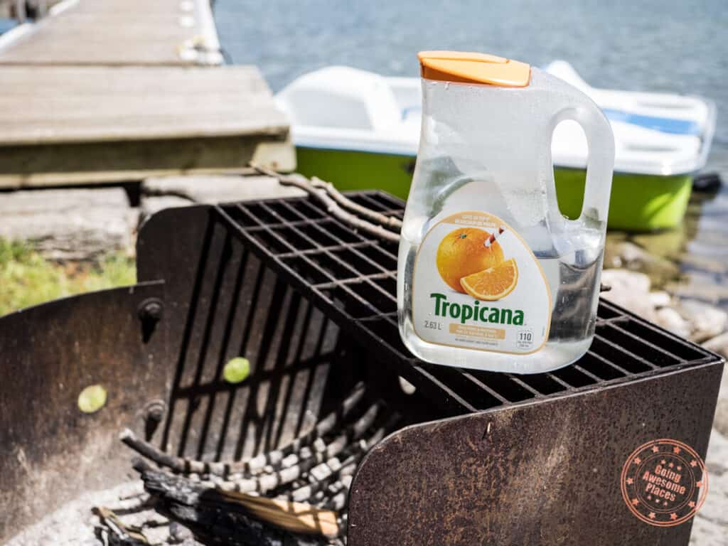 tropicana water jug for the campfire at cottage