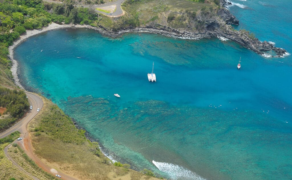 honolua bay snorkeling aerial view in maui itinerary 5 days