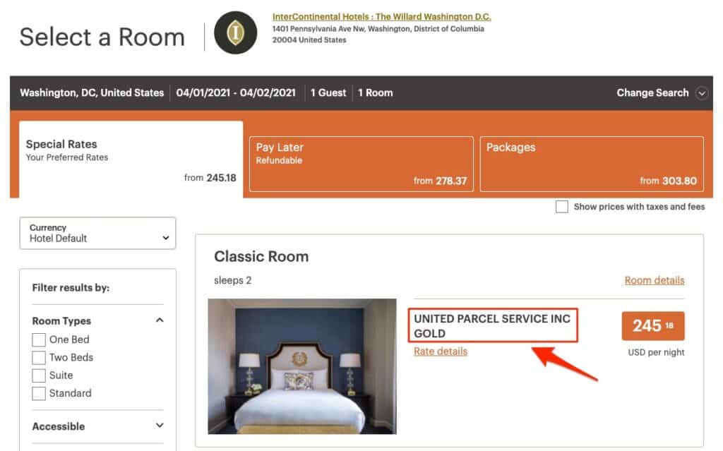 intercontinental hotel booking page showing corporate rate