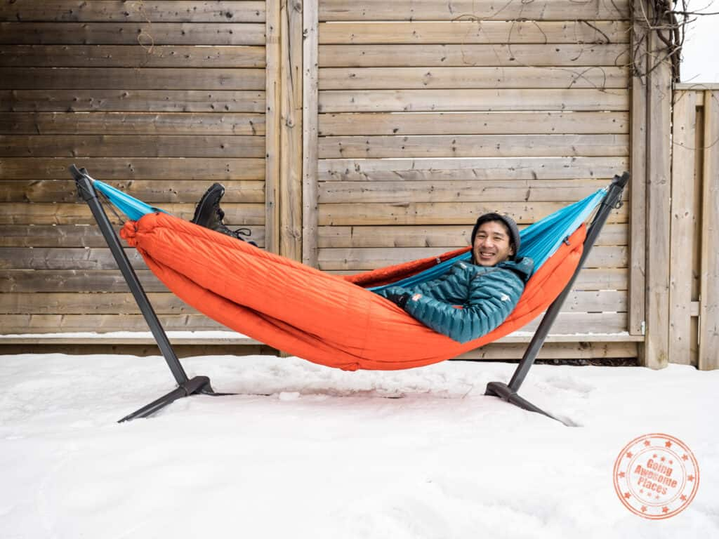 kammok firebelly 30 as under quilt with hammock