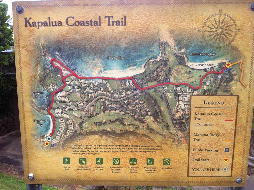 apalua coastal trail map in maui 5 day itinerary