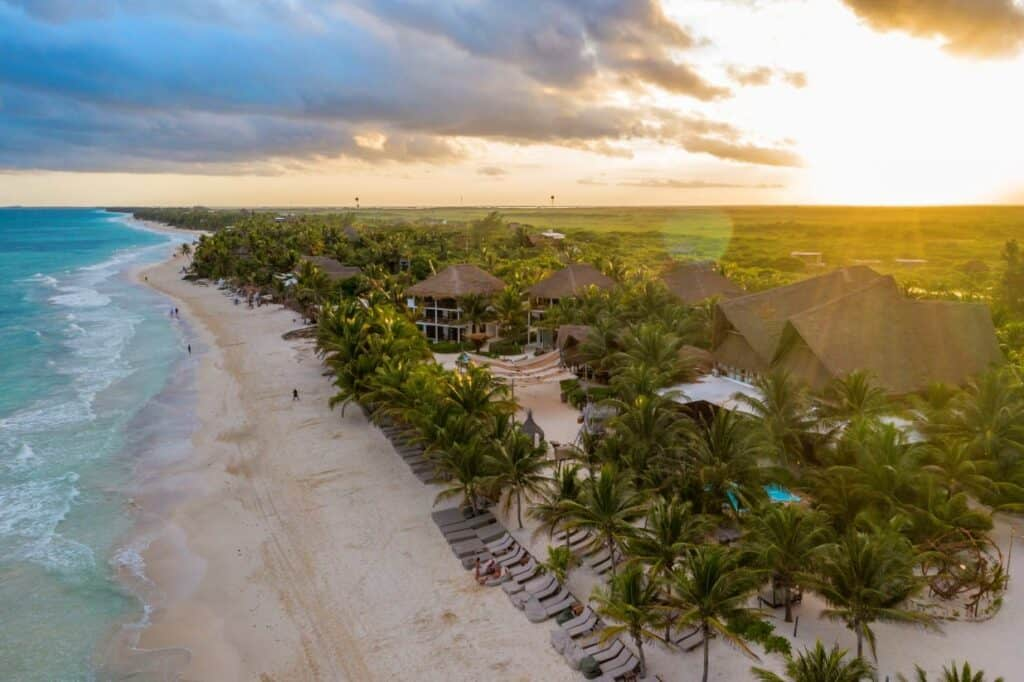 selina tulum hostel beachfront aerial view