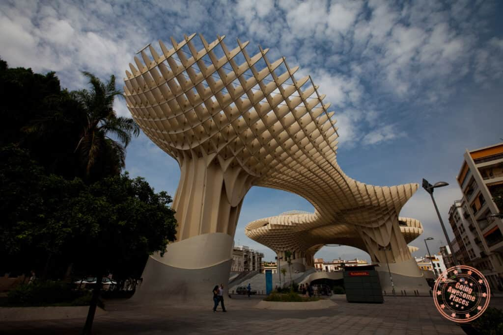 the metropol parasol sight in the centre district neighborhood of seville