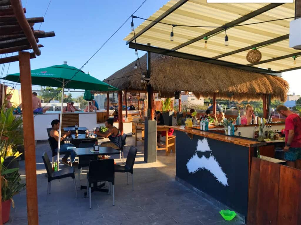 straw hat rooftop hostel and bar with pool in tulum