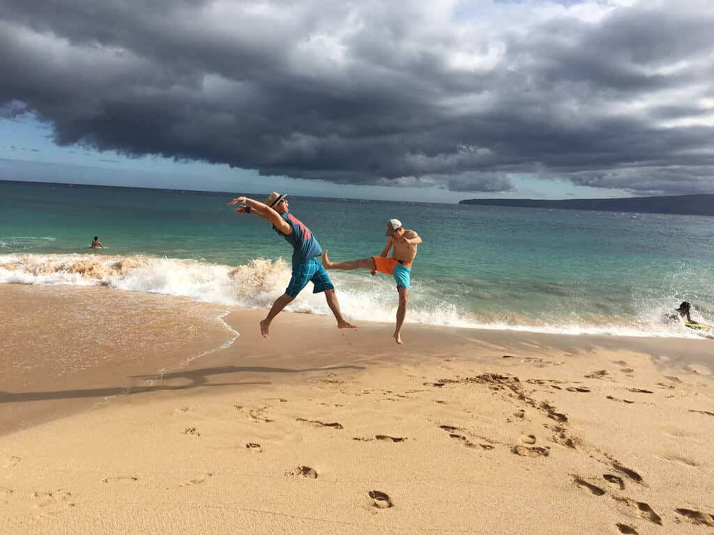 having fun at makena state park on big beach