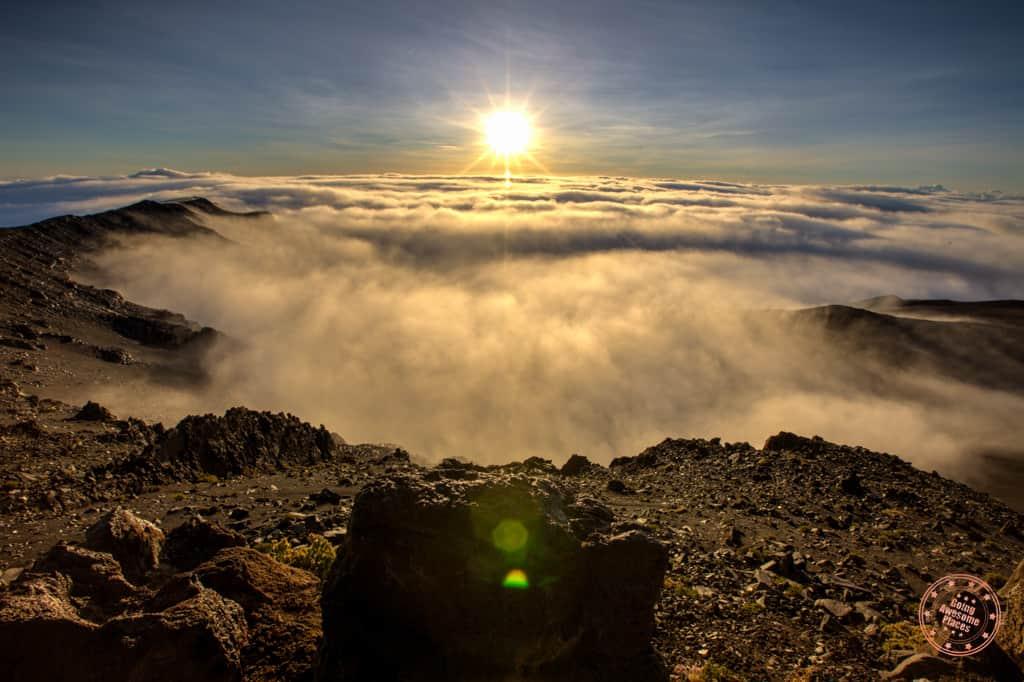 haleakala crater sunrise clouds being sucked away