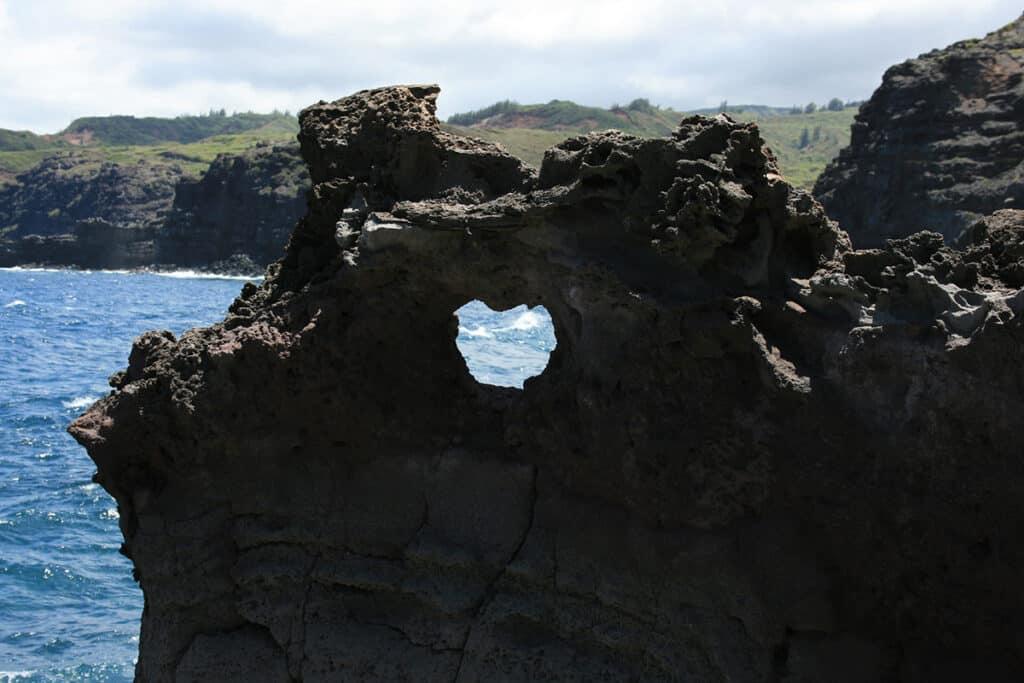 heart-shaped rock near nakalele blowhole in maui