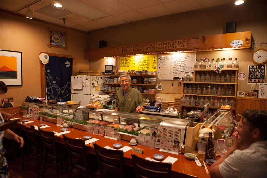 koiso sushi bar interior with hiro san