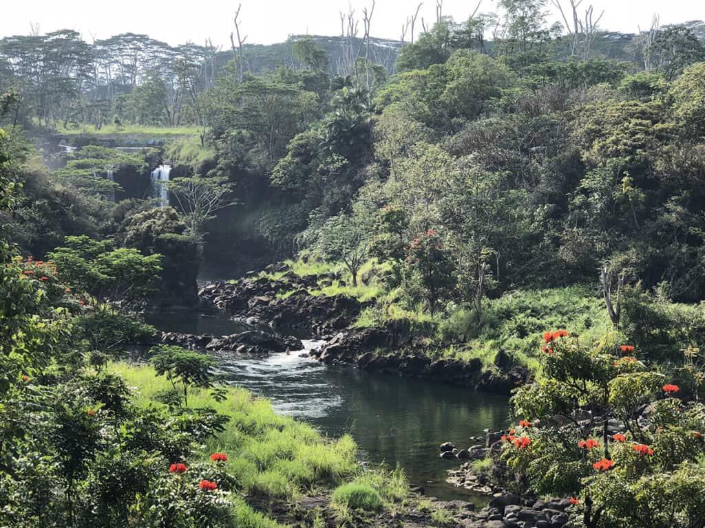 peepee big island waterfalls with wailuku river