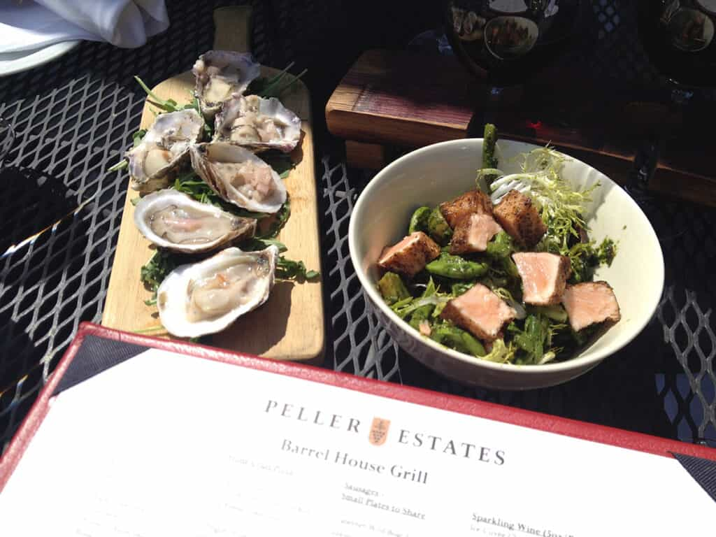 peller estates barrel house grill lunch with oysters and tuna salad