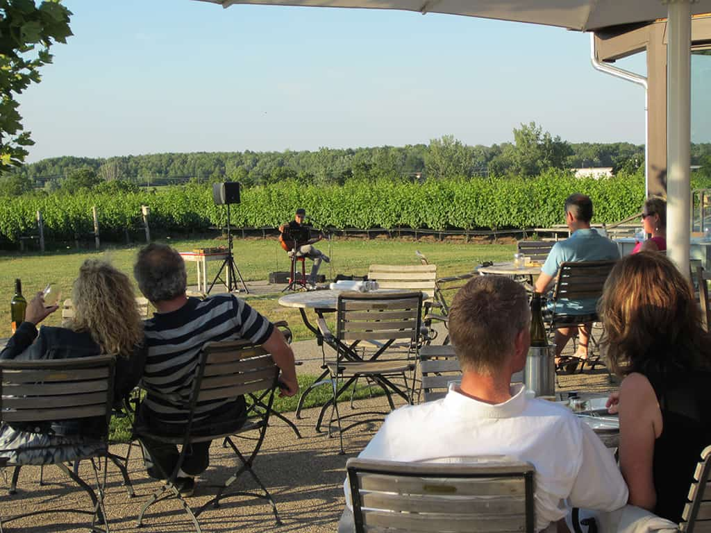 ravine vineyard estate winery patio and music outdoors in the summer