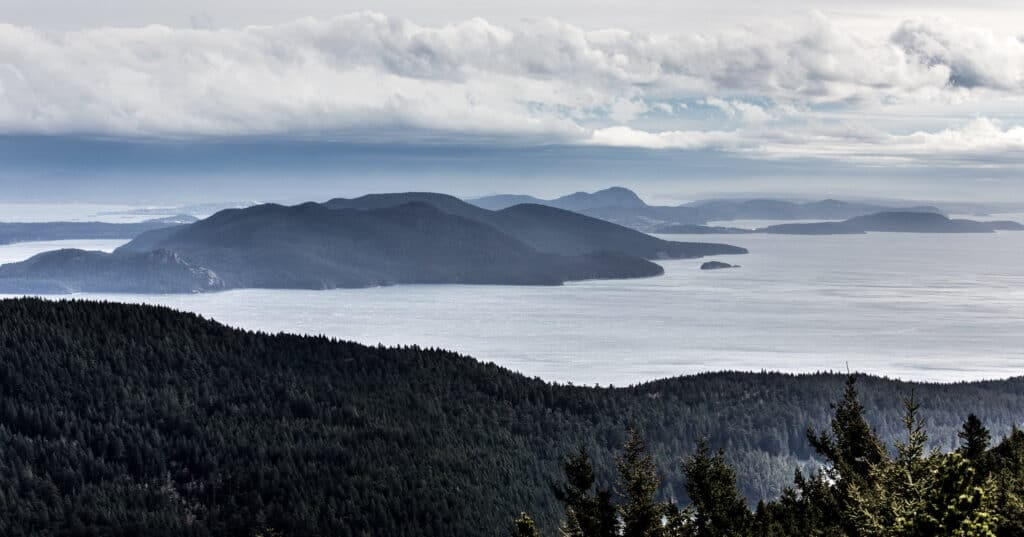 san juan islands view from moran state park atop mount constitution