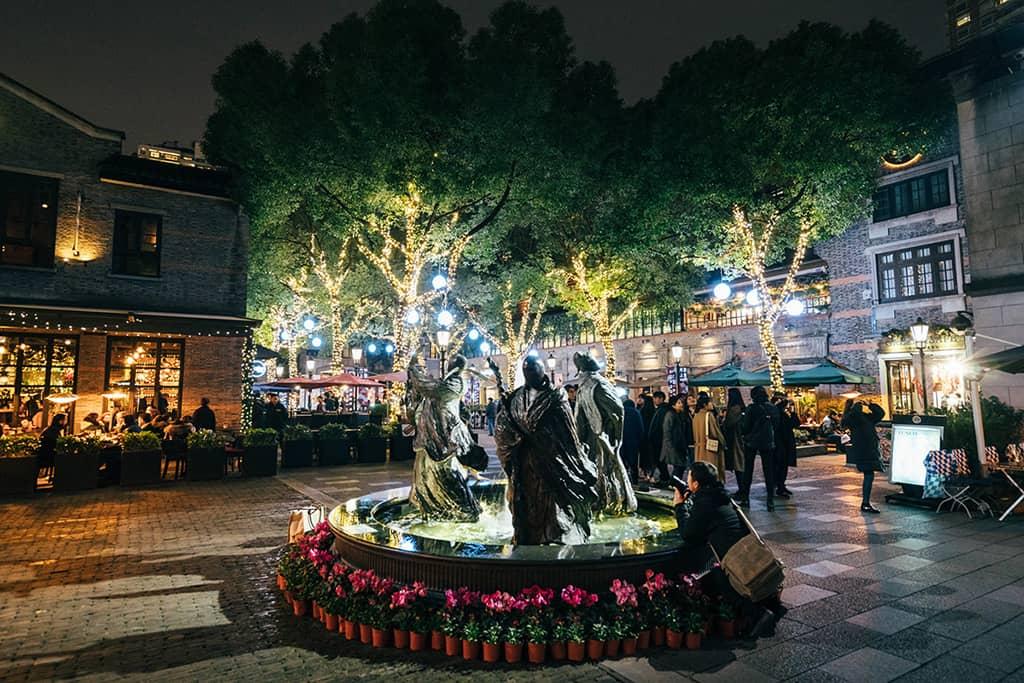 xintiandi courtyard in shanghai at night