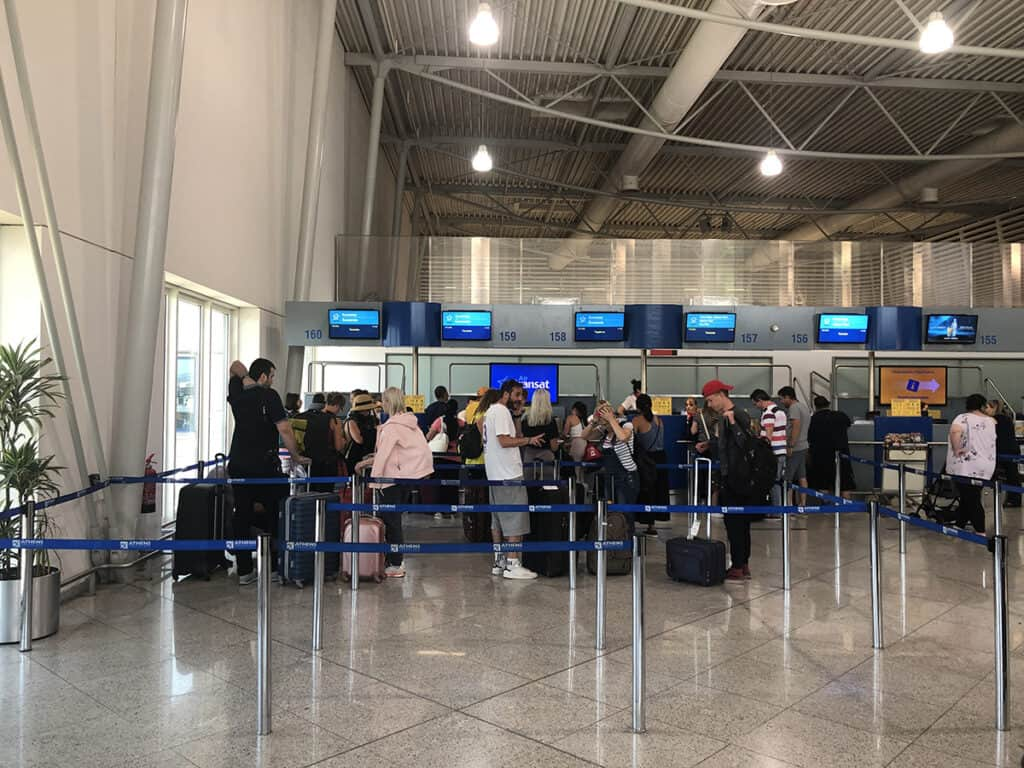 air transat check-in counter in athens airport