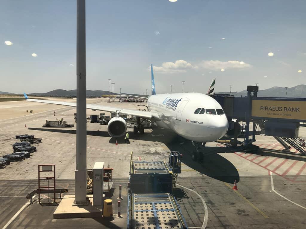 air transat plane at athens airport