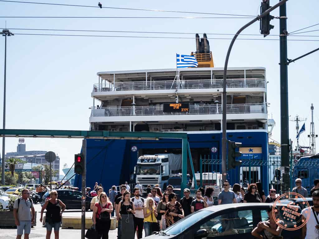 blue star ferry in piraeus from athens to santorini