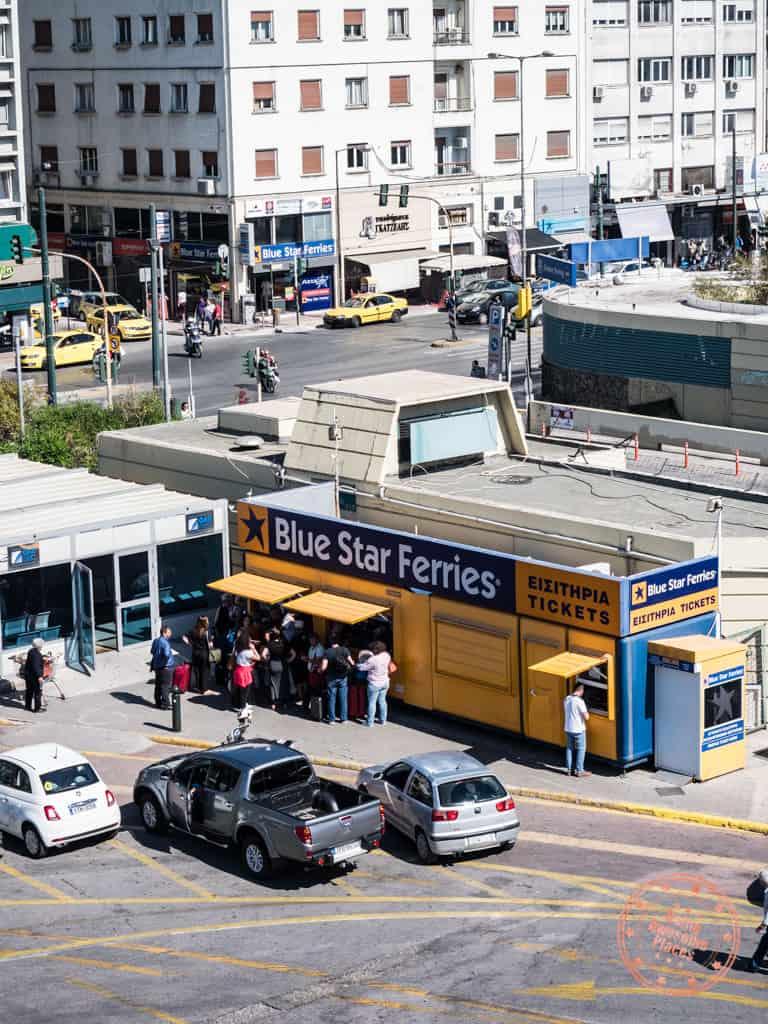 blue star ferry kiosk in pireaus port in athens