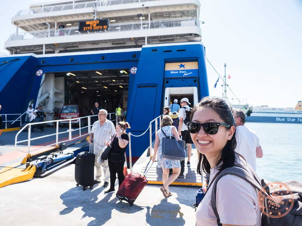 boarding blue star ferry in athens