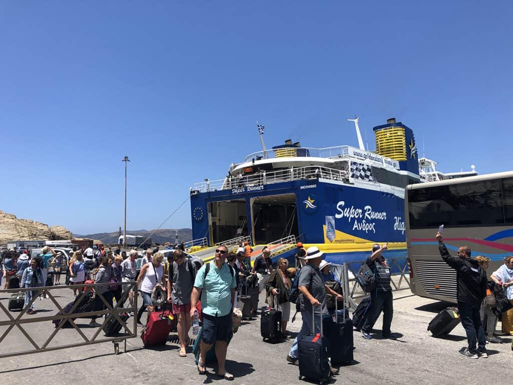 ferry arrival in santorini