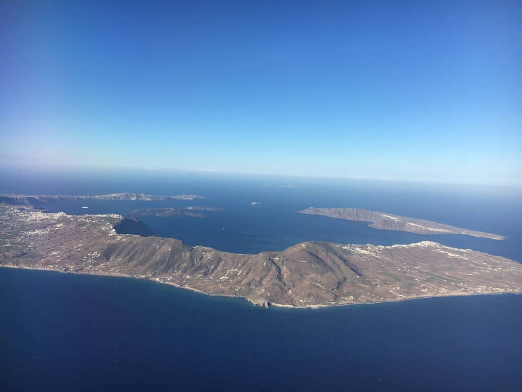 flying athens to santorini view of from the air with aegean airlines