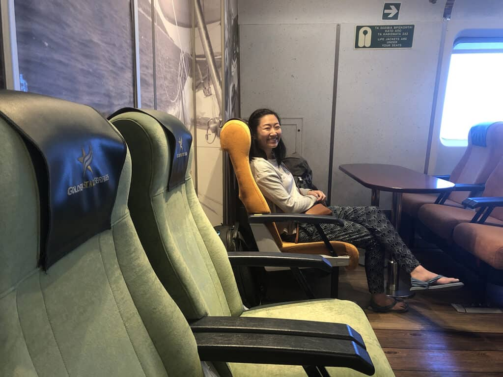 golden star ferry economy seat with table