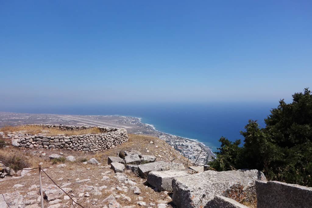 view of airport and kamari from ancient thera
