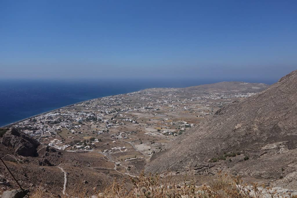 view of perissa and akrotiri from ancient thera