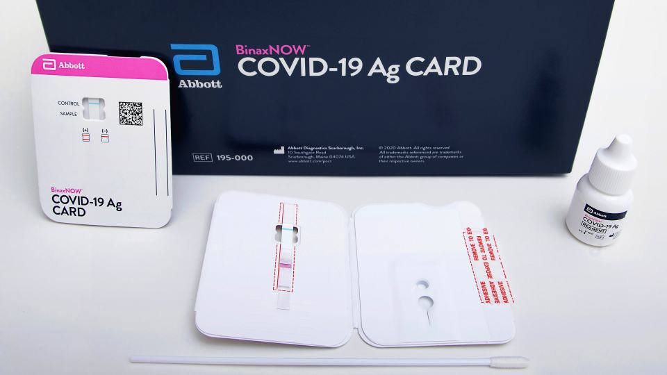 covid-19 abbott binaxnow home test with united airlines and american airlines and emed