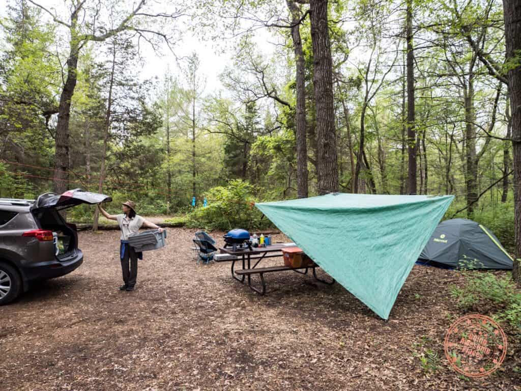 car camping set up at pinery provincial park in ontario canada