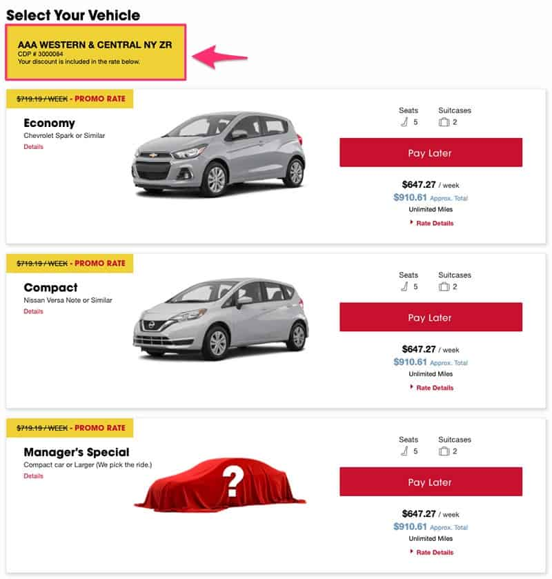 dollar car rental vehicle selection