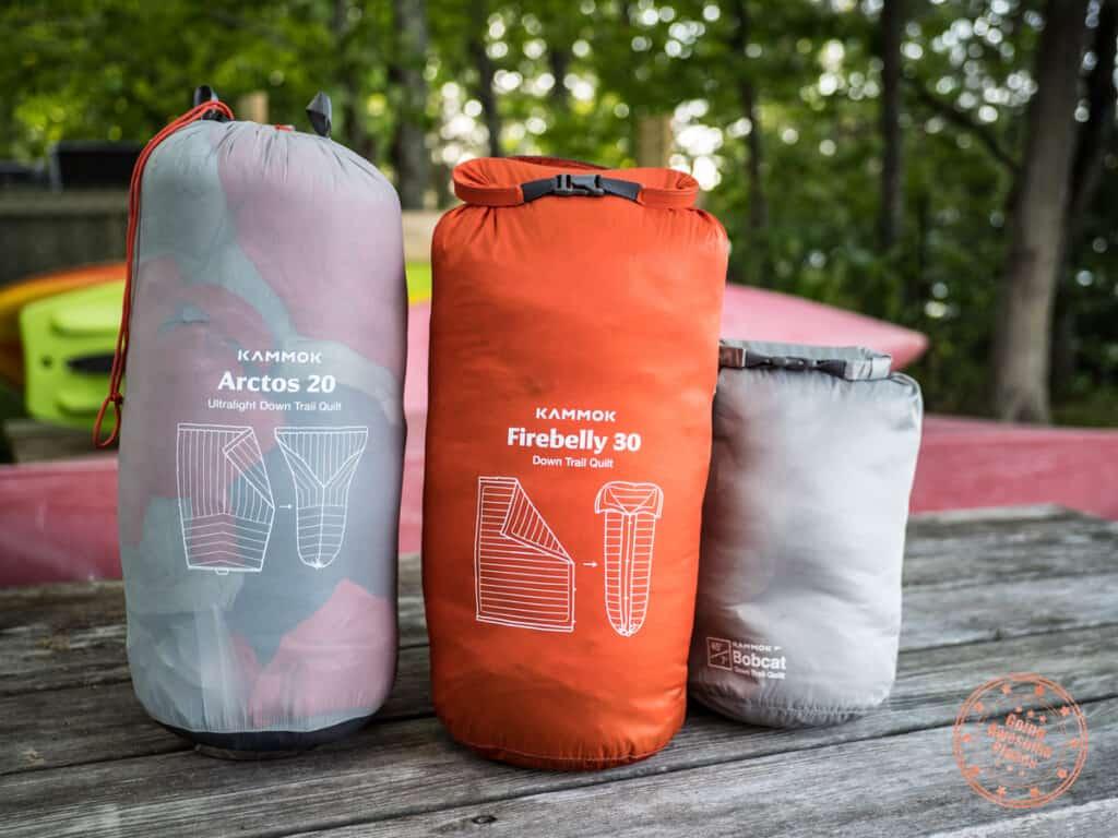 kammok trail quilt comparison between arctos firebelly and bobcat