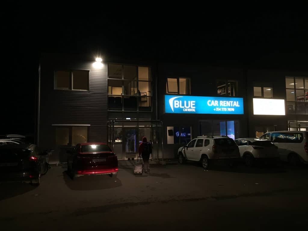 arriving at blue car rental early in the morning
