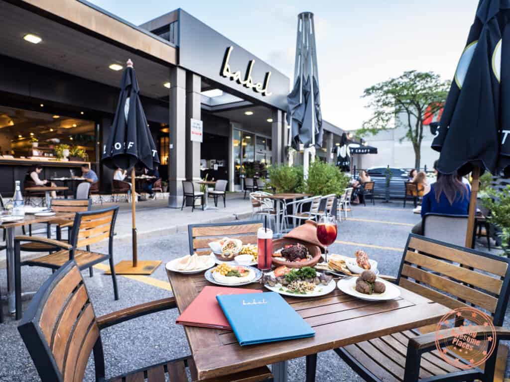 patio of babel restaurant in north york with mediterranean dishes