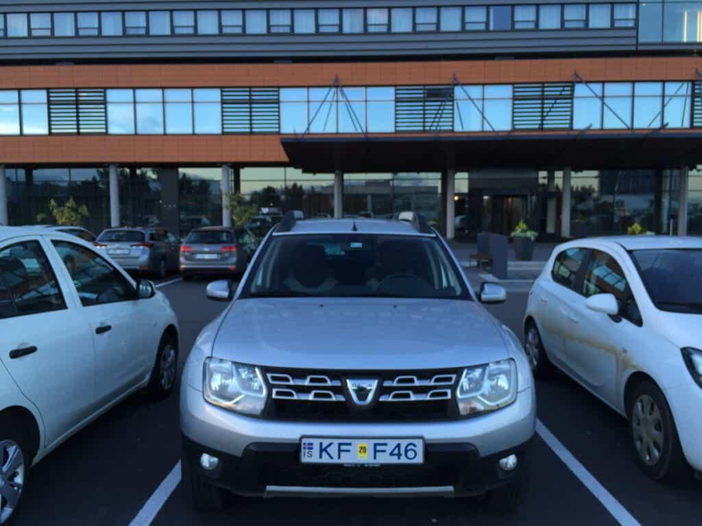 dacia duster parked at hilton reykjavik nordica hotel