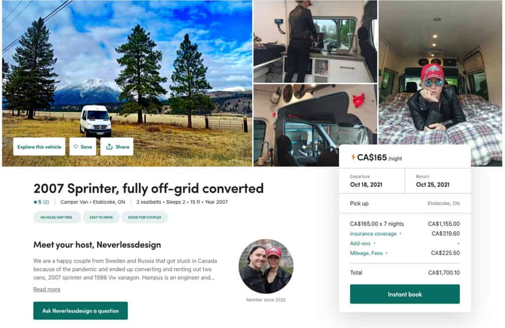 example rv rental listing from outdoorsy