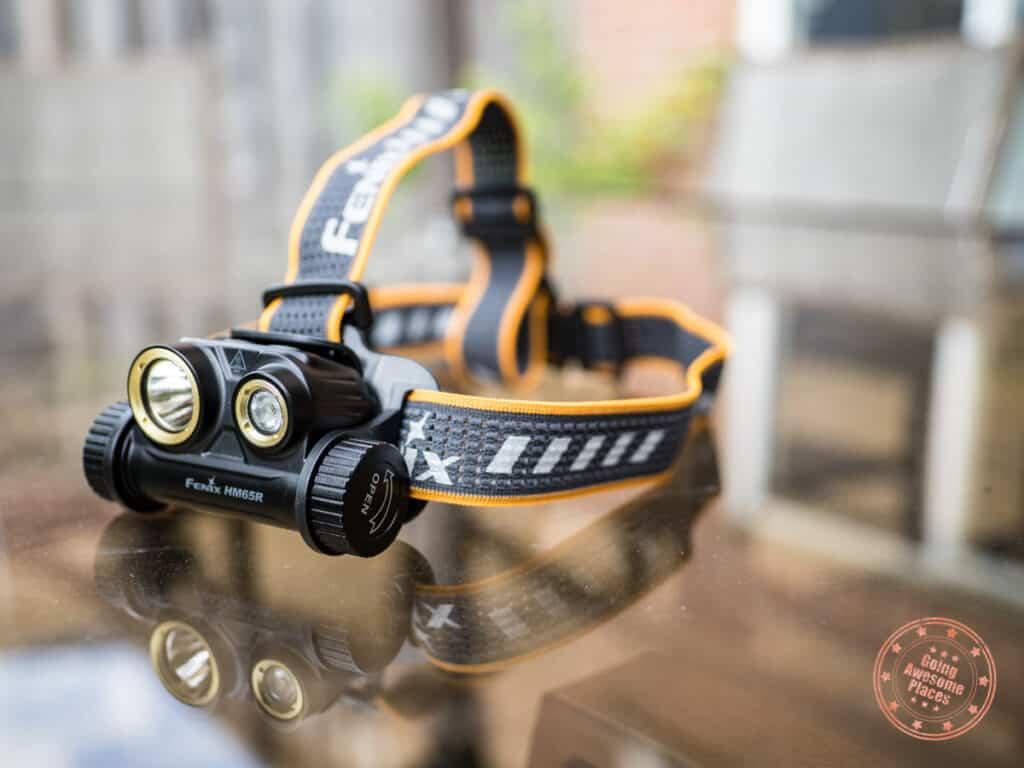 fenix hm65r headlamp on table
