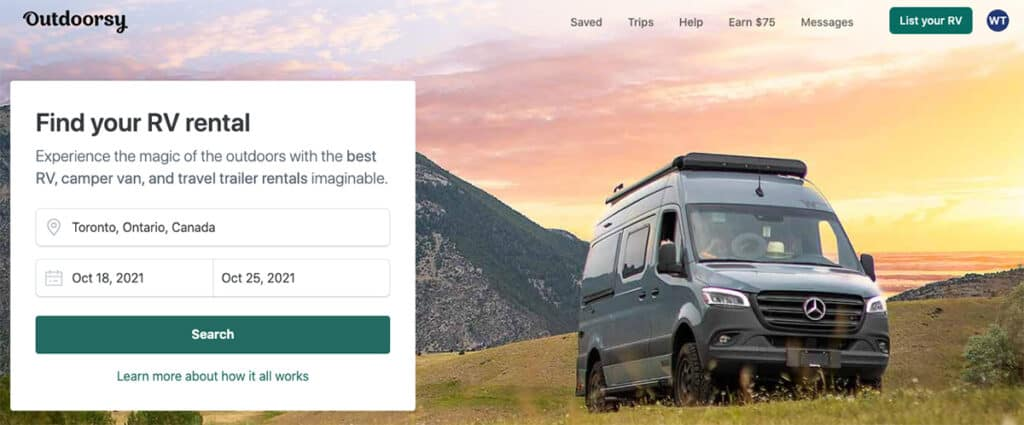 how to find rvs for rent by owner through outdoorsy homepage search