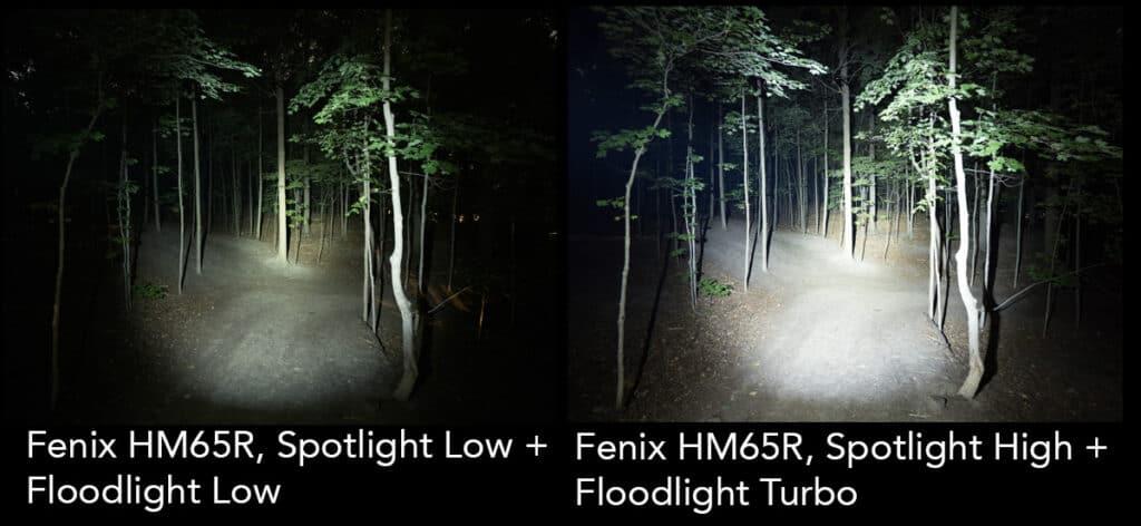 headlamp light testing fenix hm65r both lights