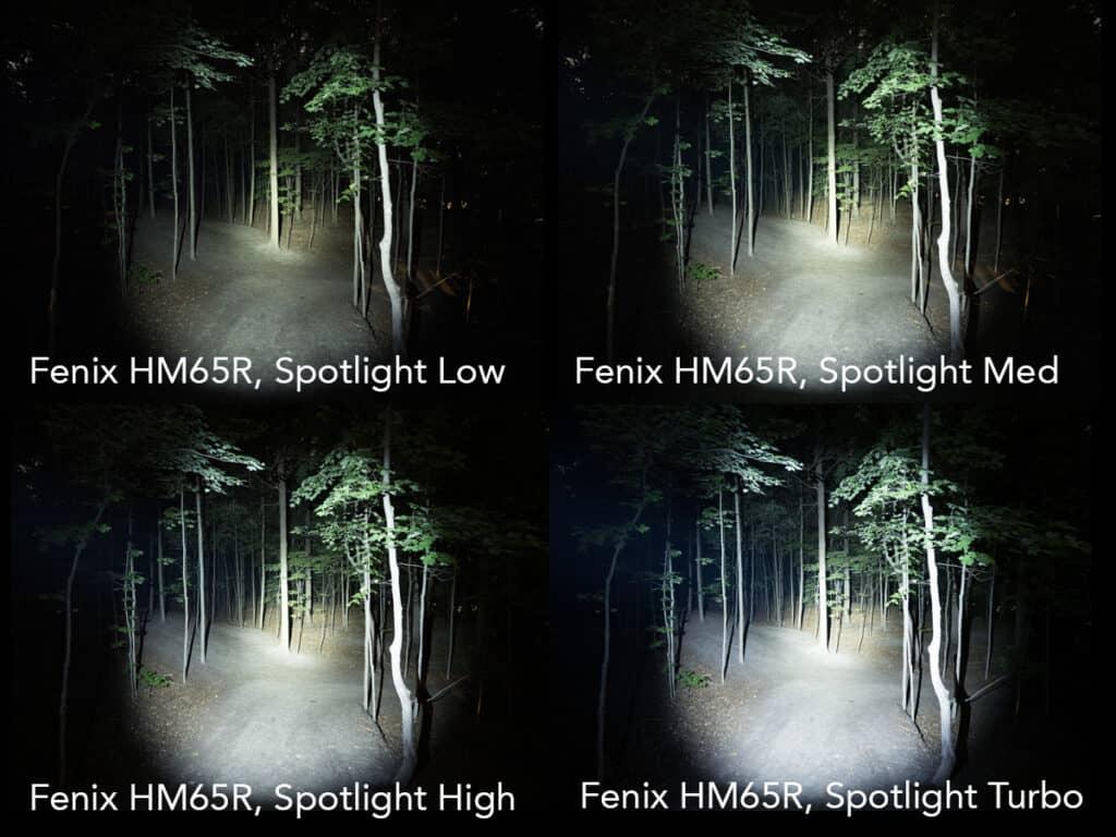 headlamp light testing fenix hm65r spotlight