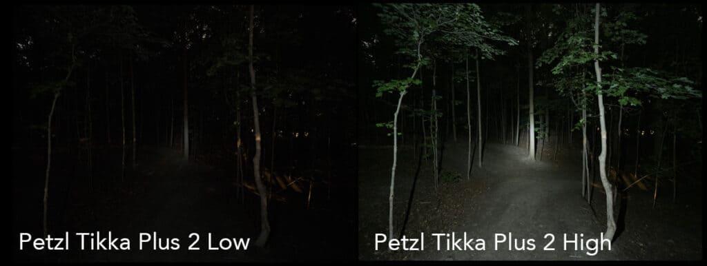 headlamp lighting test petzl tikka plus 2