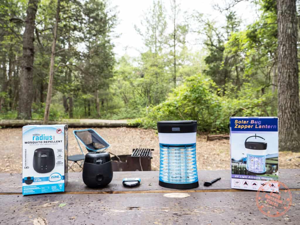 mosquito repellent products at campsite
