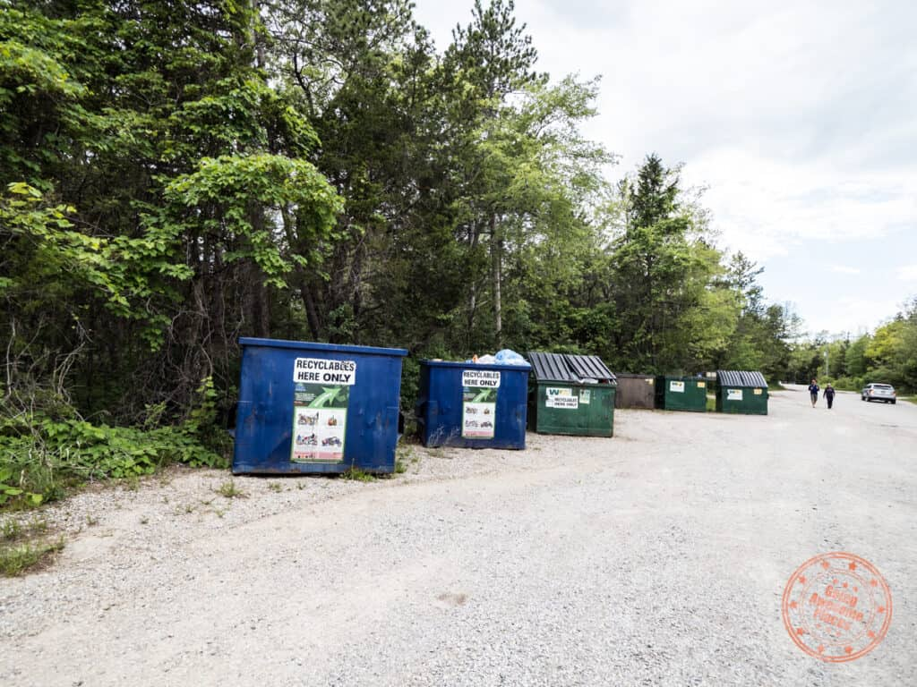 recycle and garbage dump area in pinery provincial park guide