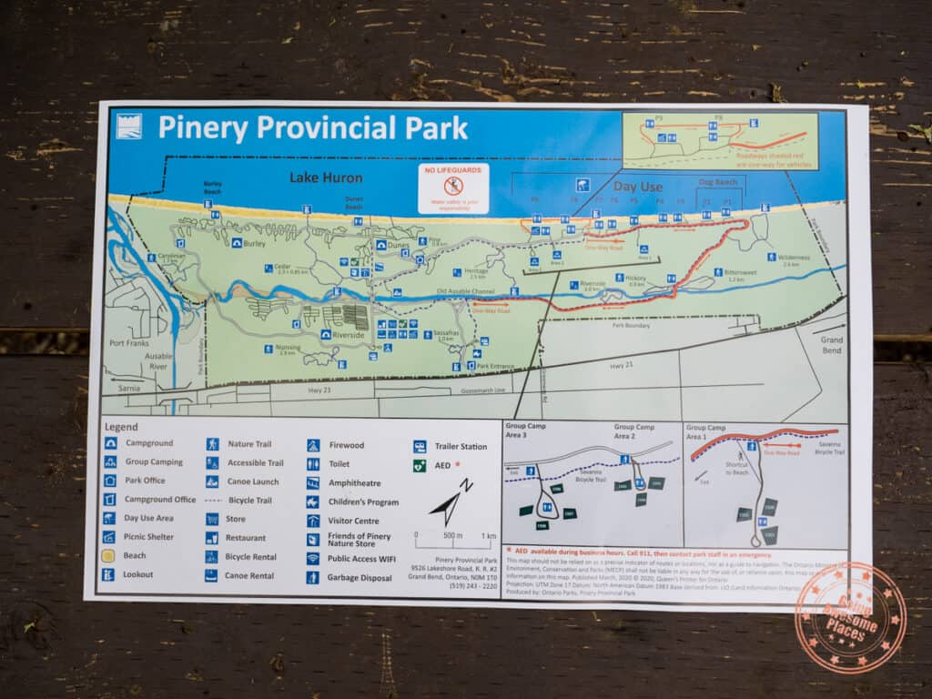 pinery provincial park guide map overview