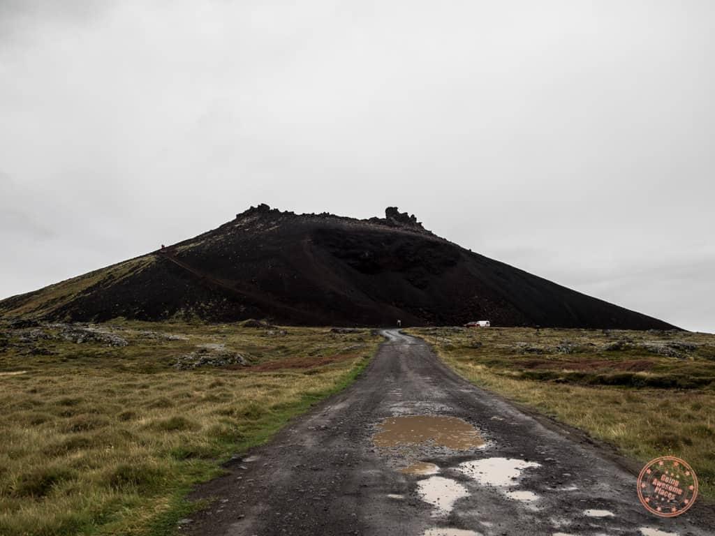 example of potholl ridden saxoll crater gravel road