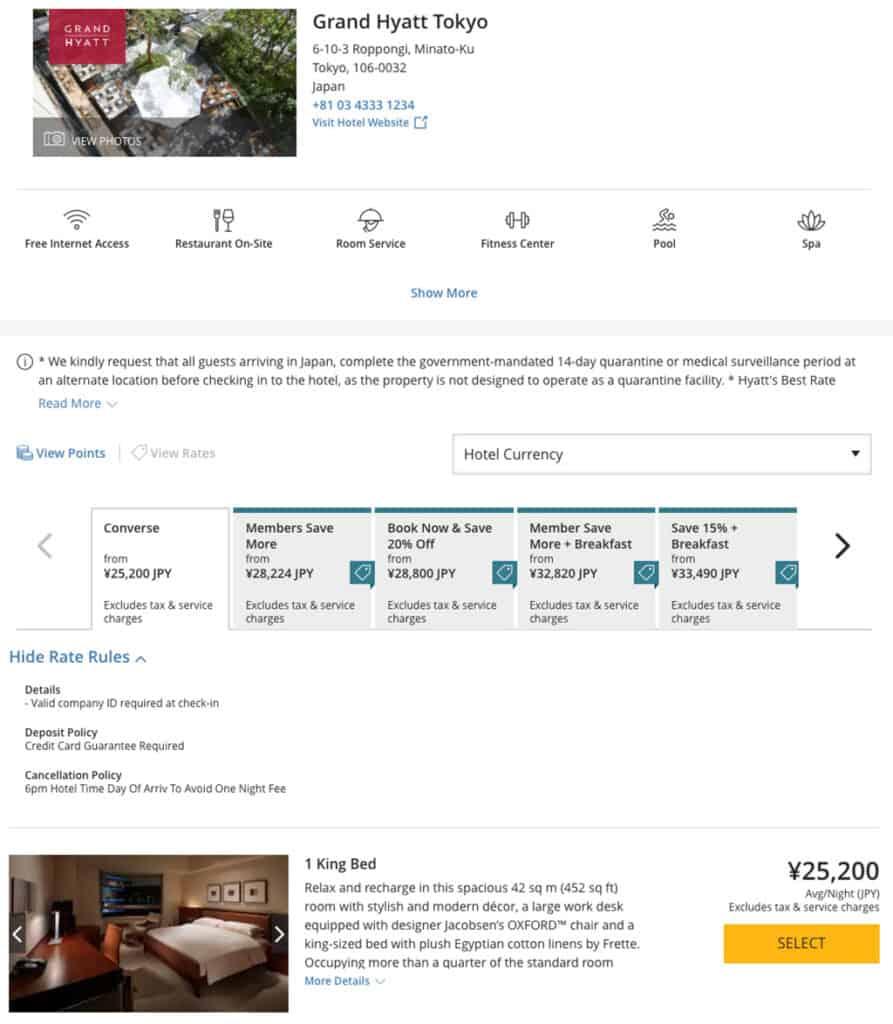 hyatt corporate code hotel page