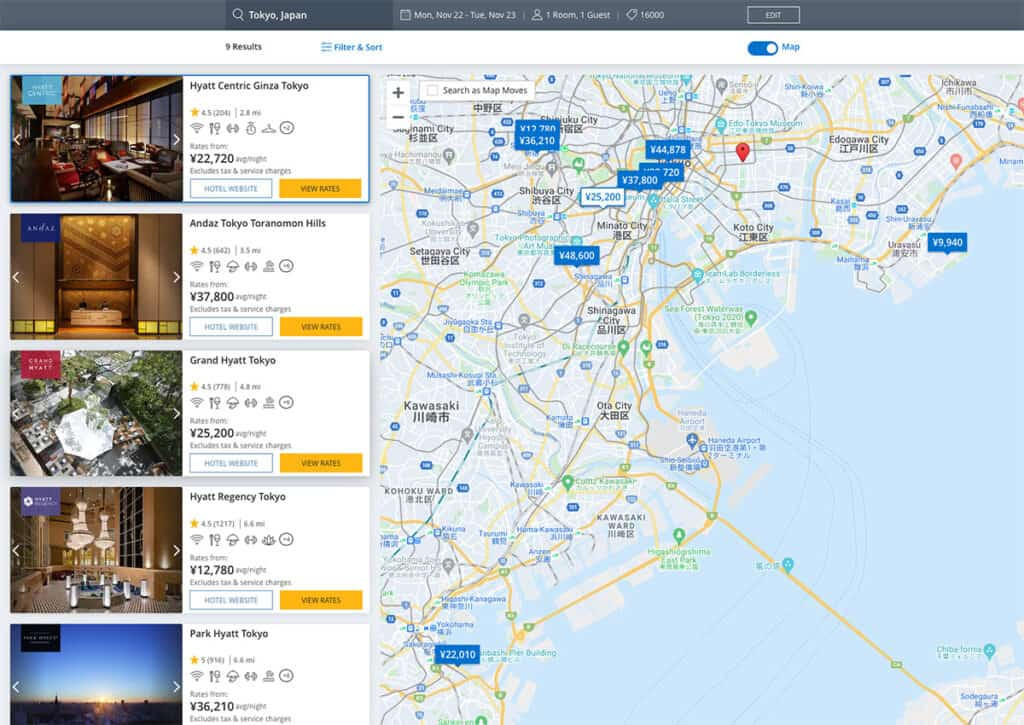 hyatt corporate code search results page
