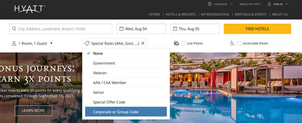 hyatt special rates drop down to enter corporate code